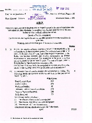 CA Final (OLD) Financial Reporting Question Paper Nov 2019
